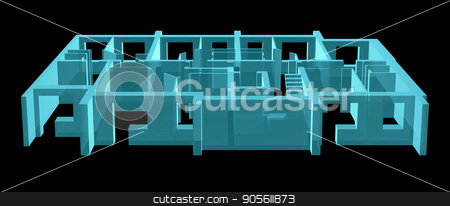 X-Ray. Model Floor of Apartment Block stock photo, X-Ray 3D illustration. Model Floor of Apartment Block by cherezoff