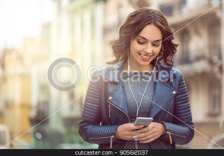 Young woman city walk tourist vacation lifestyle stock photo, Young woman city walk tourist vacation lifestyle using digital device by Dmytro Sidelnikov