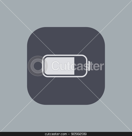 Vector modern battery icon on gray background stock vector clipart, Vector modern battery icon on gray background by petr zaika