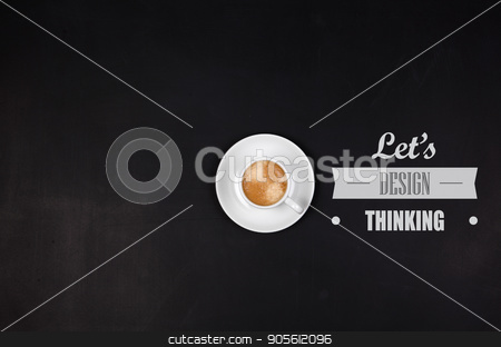 Designthinking concept. Cup of coffee on blackboard stock photo, Designthinking concept. Cup of coffee on blackboard. Copyspase in left side. by bvb1981