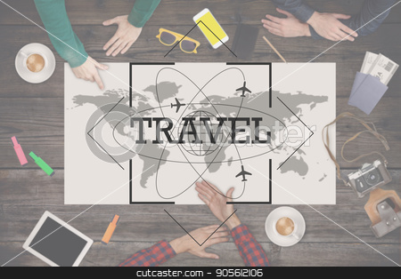 Group of people planning trip. Travel concept. Top view stock photo, Group of people planning trip on the map. Travel concept. Top view. by bvb1981