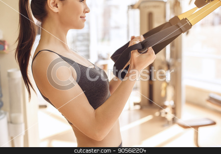 Young woman workout in gym healthy lifestyle stock photo, Young female training in gym healthy lifestyle pulling weights by Dmytro Sidelnikov