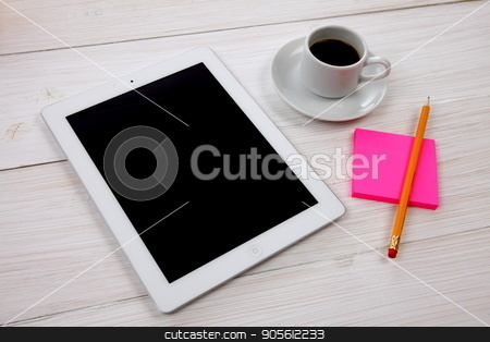 digital tablet, notepad and cup of coffee on wooden background stock photo, digital tablet notepad and cup of coffee on white wooden table by bvb1981