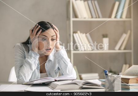 Young woman study at home alone education stock photo, Young woman study at home alone problem by Dmytro Sidelnikov