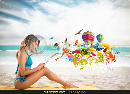 Girl with cell phone sending creative message stock photo, Girl with cell phone in a beach that send creative messages by Federico Caputo