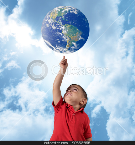 Young man indicate the world stock photo, Young man indicate the world on blue sky. World provided by NASA by Federico Caputo