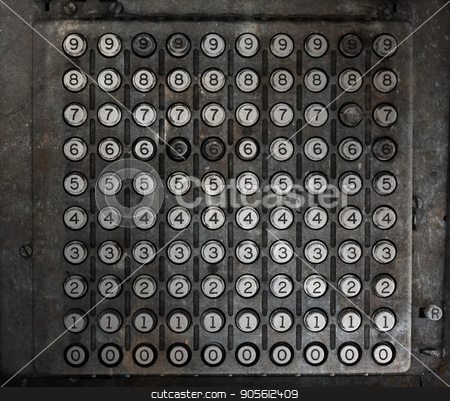 Old machine with numbers stock photo, Old machine with numbers from 0 to 9 by michaklootwijk