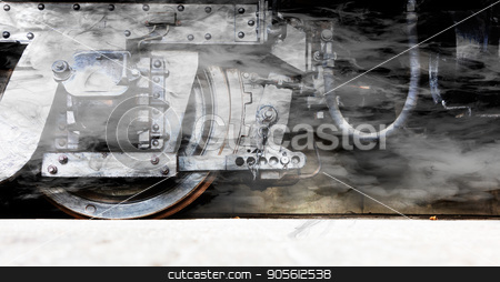 Steam locomotive wheels or steam train wheels stock photo, Steam locomotive wheels or steam train wheels and rods closeup for background by michaklootwijk