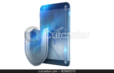 Safe cellphone from hacker attack like a strongbox. 3D Rendering stock photo, Safe cellphone from hacker attack like a strong strongbox . 3D Rendering by Federico Caputo