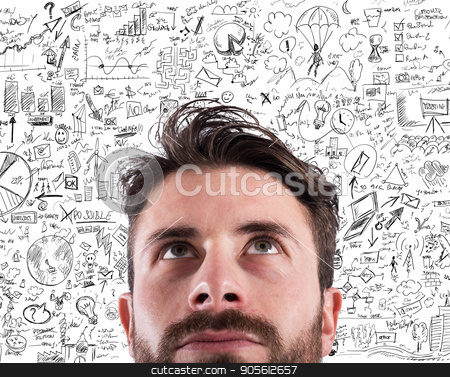 New business creative idea of a project stock photo, Businessman thinking a new business creative idea of a project by Federico Caputo