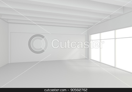 Bright white room with windows. stock photo, Bright white room with windows. 3d rendering by Andrey