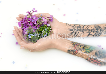 Arms of a girl with colorful tattoos on the surface of milk with stock photo, Arms of a girl with colorful tattoos on the surface of milk with flower petals. She holds multicolored flowers on her palms. Closeup. Indoors. Horizontal by bezikus