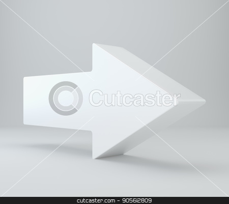 3d rendering of an arrow symbol in brushed metal on a white isolated background stock photo, 3d rendering of an arrow symbol in brushed metal on a white isolated background. by Andrey