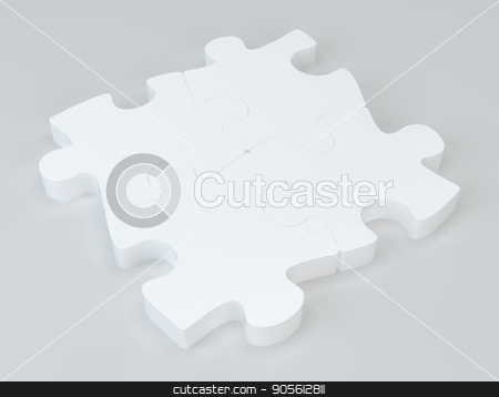 White puzzles with soft shadows. 3d rendering stock photo, White puzzles with soft shadows. 3d rendering. by Andrey