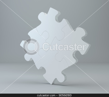 Studio 3d rendering of puzzles on a gray background stock photo, Studio 3d rendering of puzzles on a gray background. by Andrey