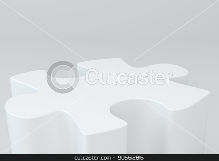 One puzzle in the form of a pedestal stock photo, One puzzle in the form of a pedestal. 3d rendering by Andrey