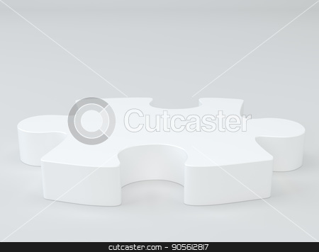 White puzzle with soft shadows. stock photo, White puzzle with soft shadows. 3d rendering by Andrey