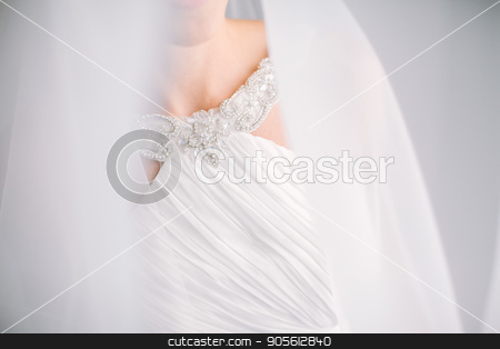 smile of the beautiful elegant bride in a white dress under a veil close up. blurred photo, empty space for the text. stock photo, upper part of white wedding dress embroidered with beads under a veil close up. blurred photo, empty space for the text. wedding concept. Fine art wedding. by Dmitry