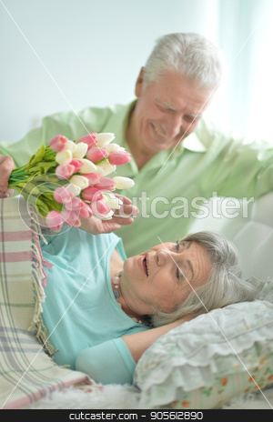 happy senior couple stock photo, Portrait of happy senior couple, husband presenting flowers to his wife by Ruslan Huzau