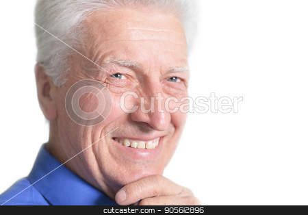 Portrait of handsome senior man stock photo, Portrait of handsome senior man isolated on white  background by Ruslan Huzau