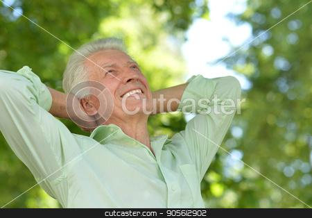 Portrait of handsome senior man stock photo, Portrait of handsome senior man on blurred background by Ruslan Huzau
