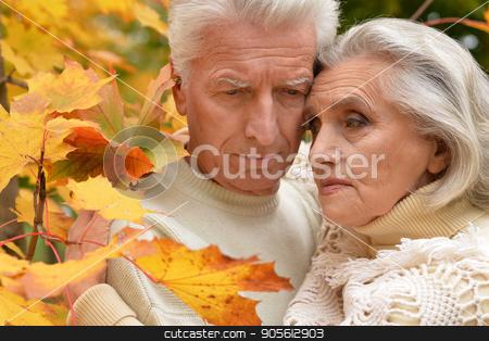 sad senior couple hugging stock photo, Portrait of sad senior couple hugging outdoors by Ruslan Huzau