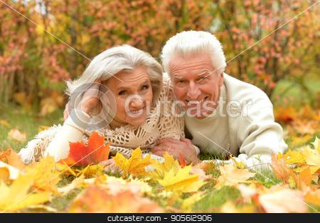 Portrait of happy senior couple stock photo, Portrait of happy senior couple resting in autumnal park by Ruslan Huzau