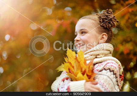 portrait of pretty little girl stock photo, portrait of pretty little girl resting in autumnal park by Ruslan Huzau