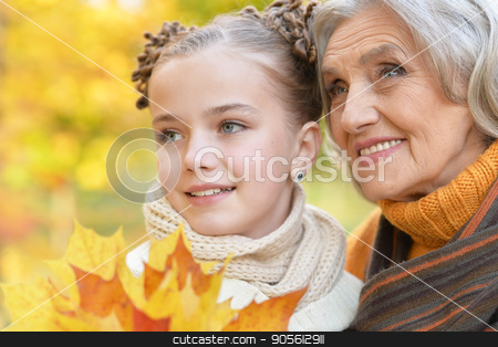 little girl having fun with grandmother stock photo, pretty little girl having fun with grandmother in autumnal park by Ruslan Huzau