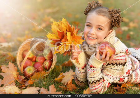 portrait of pretty little girl stock photo, portrait of pretty little girl in autumnal park by Ruslan Huzau