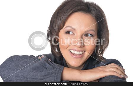 beautiful brunette woman stock photo, studio portrait of beautiful brunette woman isolated on white background by Ruslan Huzau