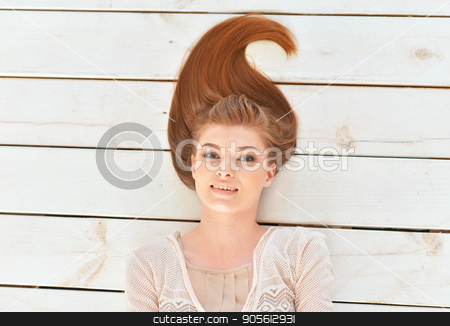 Beautiful young woman close-up stock photo, Portrait of a beautiful young woman close-up by Ruslan Huzau