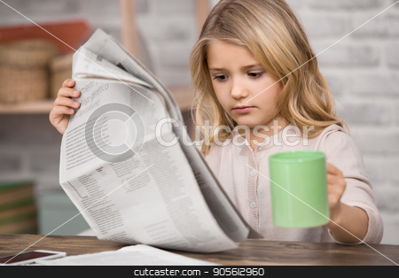 Little Girl Study Learning Education Knowledge Concept stock photo, Little girl reading paper study knowledge information by Dmytro Sidelnikov