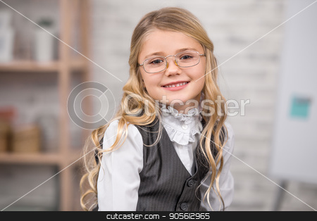 Little Girl Student School Uniform Style Education Concept stock photo, Little girl school uniform smart student style by Dmytro Sidelnikov