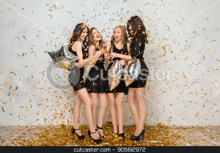 Young women together celebrating hen party isolated on white stock photo, Young female friends together celebration white background cheers by Dmytro Sidelnikov