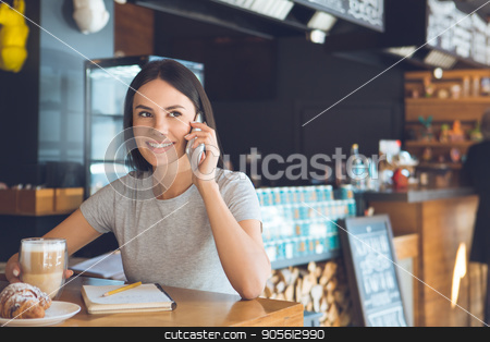 Young woman sitting in a coffee shop leisure stock photo, Young female sitting in a cafe indoors rest using digital device by Dmytro Sidelnikov
