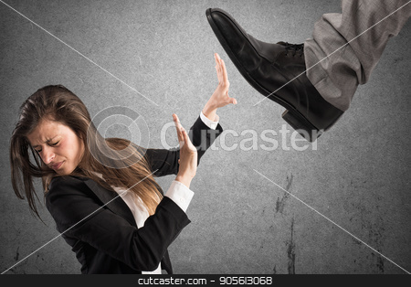 Aggressive boss .Mobbing concept stock photo, Aggressive boss against his scared employee. Mobbing concept by Federico Caputo
