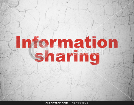 Information concept: Information Sharing on wall background stock photo, Information concept: Red Information Sharing on textured concrete wall background by mkabakov