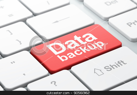 Data concept: Data Backup on computer keyboard background stock photo, Data concept: computer keyboard with word Data Backup, selected focus on enter button background, 3D rendering by mkabakov