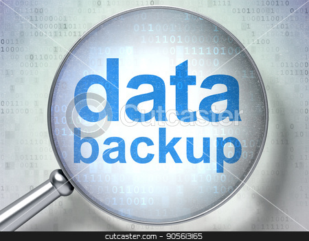 Data concept: Data Backup with optical glass stock photo, Data concept: magnifying optical glass with words Data Backup on digital background, 3D rendering by mkabakov
