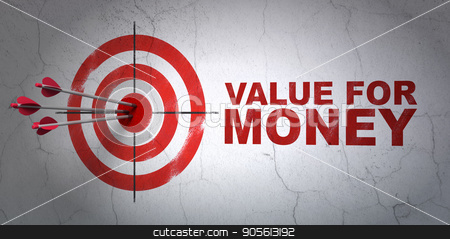 Money concept: target and Value For Money on wall background stock photo, Success money concept: arrows hitting the center of target, Red Value For Money on wall background, 3D rendering by mkabakov