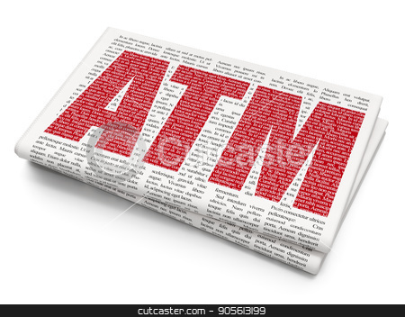 Currency concept: ATM on Newspaper background stock photo, Currency concept: Pixelated red text ATM on Newspaper background, 3D rendering by mkabakov