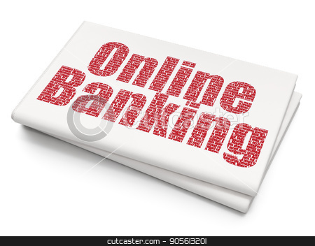 Banking concept: Online Banking on Blank Newspaper background stock photo, Banking concept: Pixelated red text Online Banking on Blank Newspaper background, 3D rendering by mkabakov