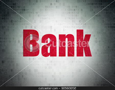 Banking concept: Bank on Digital Data Paper background stock photo, Banking concept: Painted red word Bank on Digital Data Paper background by mkabakov