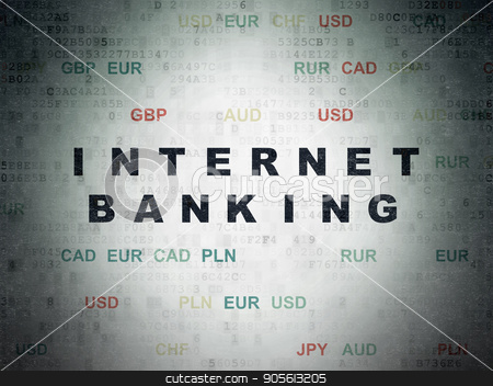Money concept: Internet Banking on Digital Data Paper background stock photo, Money concept: Painted black text Internet Banking on Digital Data Paper background with Currency by mkabakov