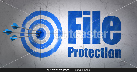 Security concept: target and File Protection on wall background stock photo, Success security concept: arrows hitting the center of target, Blue File Protection on wall background, 3D rendering by mkabakov