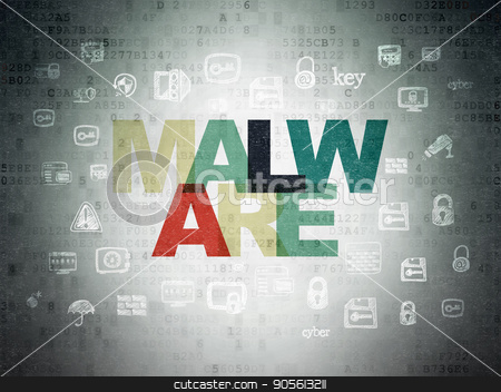 Protection concept: Malware on Digital Data Paper background stock photo, Protection concept: Painted multicolor text Malware on Digital Data Paper background with  Hand Drawn Security Icons by mkabakov