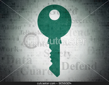 Safety concept: Key on Digital Data Paper background stock photo, Safety concept: Painted green Key icon on Digital Data Paper background with  Tag Cloud by mkabakov