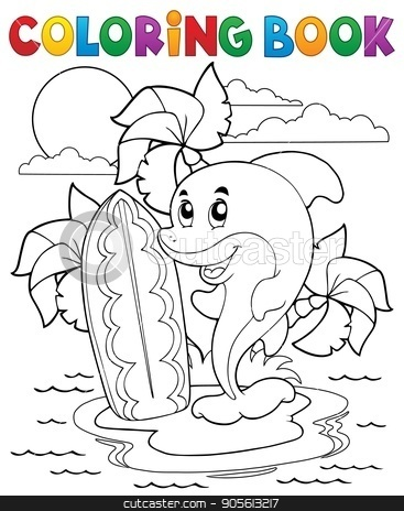 Coloring book dolphin theme 3 stock vector clipart, Coloring book dolphin theme 3 - eps10 vector illustration. by Klara Viskova