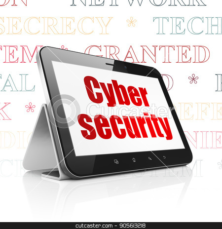 Safety concept: Tablet Computer with Cyber Security on display stock photo, Safety concept: Tablet Computer with  red text Cyber Security on display,  Tag Cloud background, 3D rendering by mkabakov